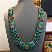 Tibetan Buddhist Turquoise & Coral Vintage Necklace