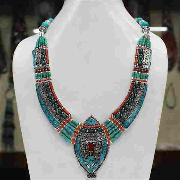 Tibetan Turquoise & Coral Boho Beaded Chokar Necklace