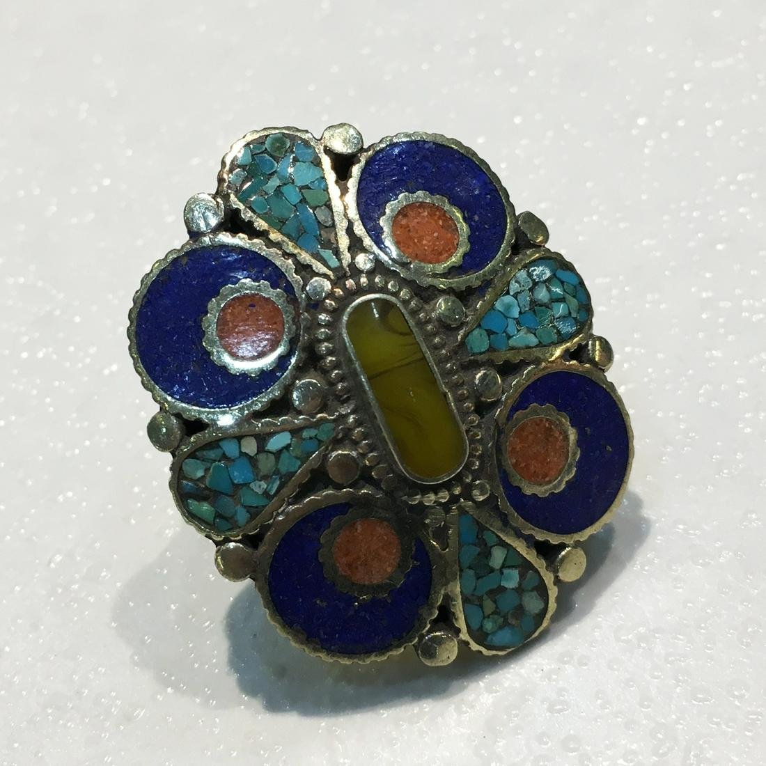 Tibetan Turquoise & Lapis Hand Carved Antique Ring -