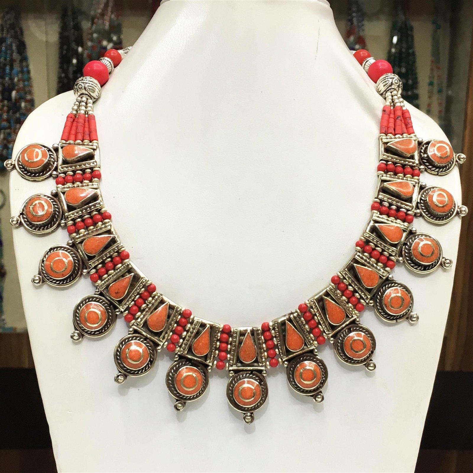 Tibetan Natural Coral Chokar Necklace