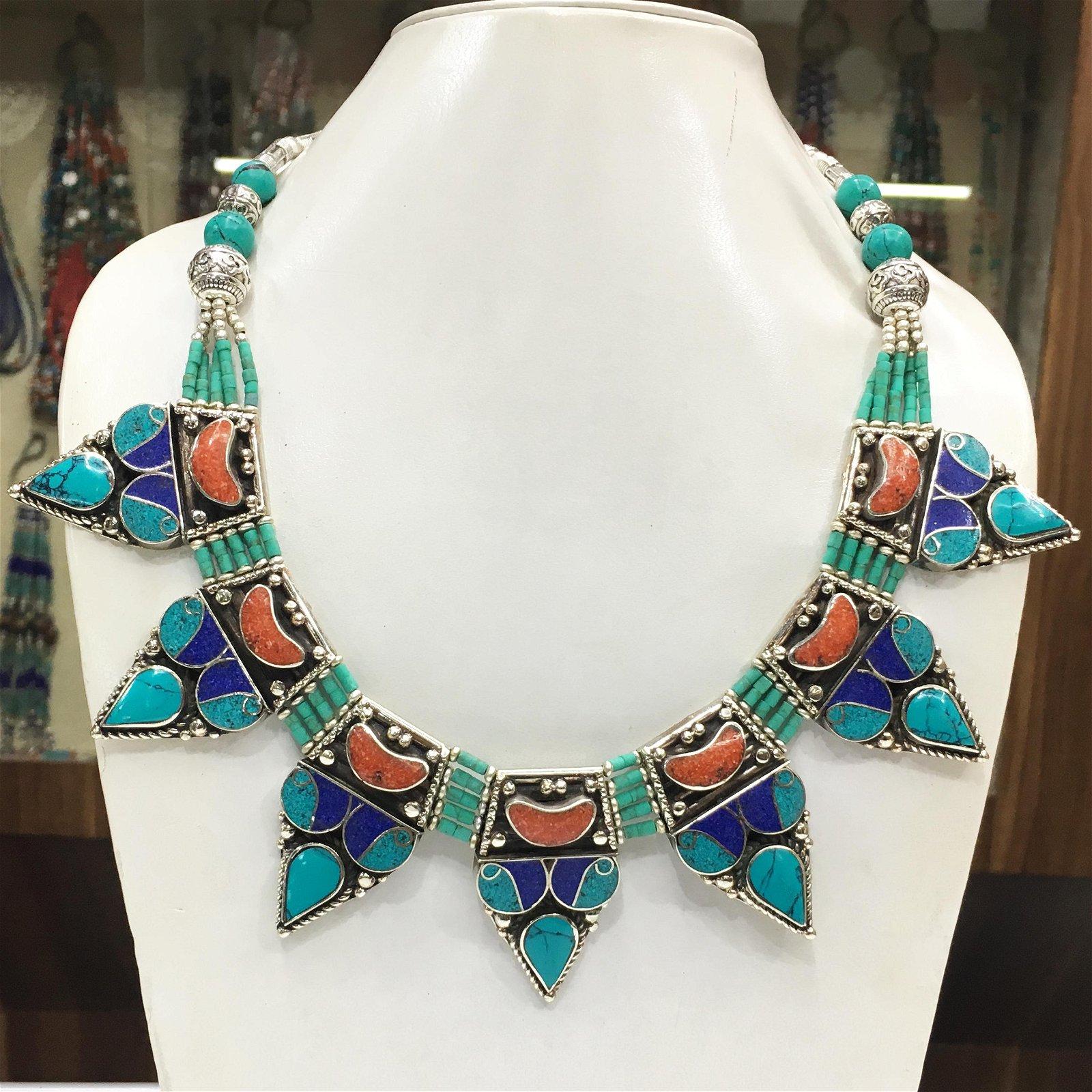 Tibetan Natural Turquoise & Coral Chokar Necklace