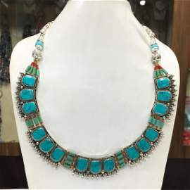 Tibetan Turquoise Chokar Boho Necklace