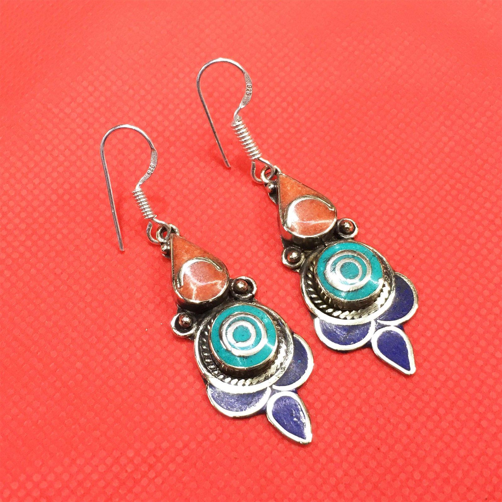 Tibetan Turquoise & Coral Handmade Ethnic Earrings