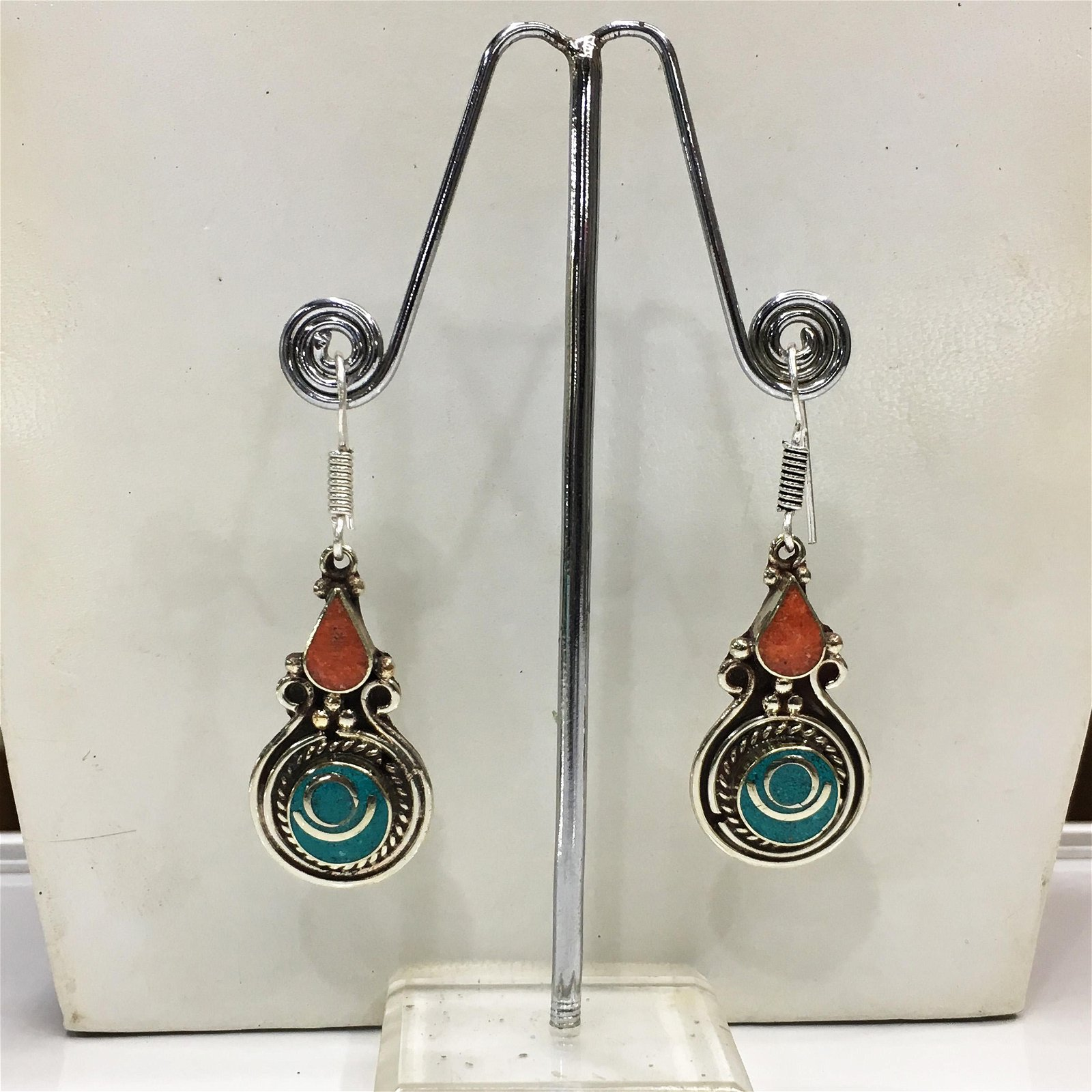 Tibetan Turquoise & Coral Handmade Ethnic Earrings
