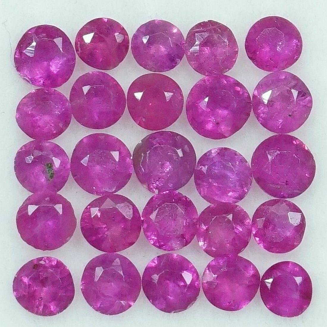 100% Natural Ruby 1.24 CTS Diamond Cut 2 mm Size Lot of