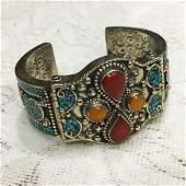 Tibetan Turquoise & Coral Hand-Carved Bangle