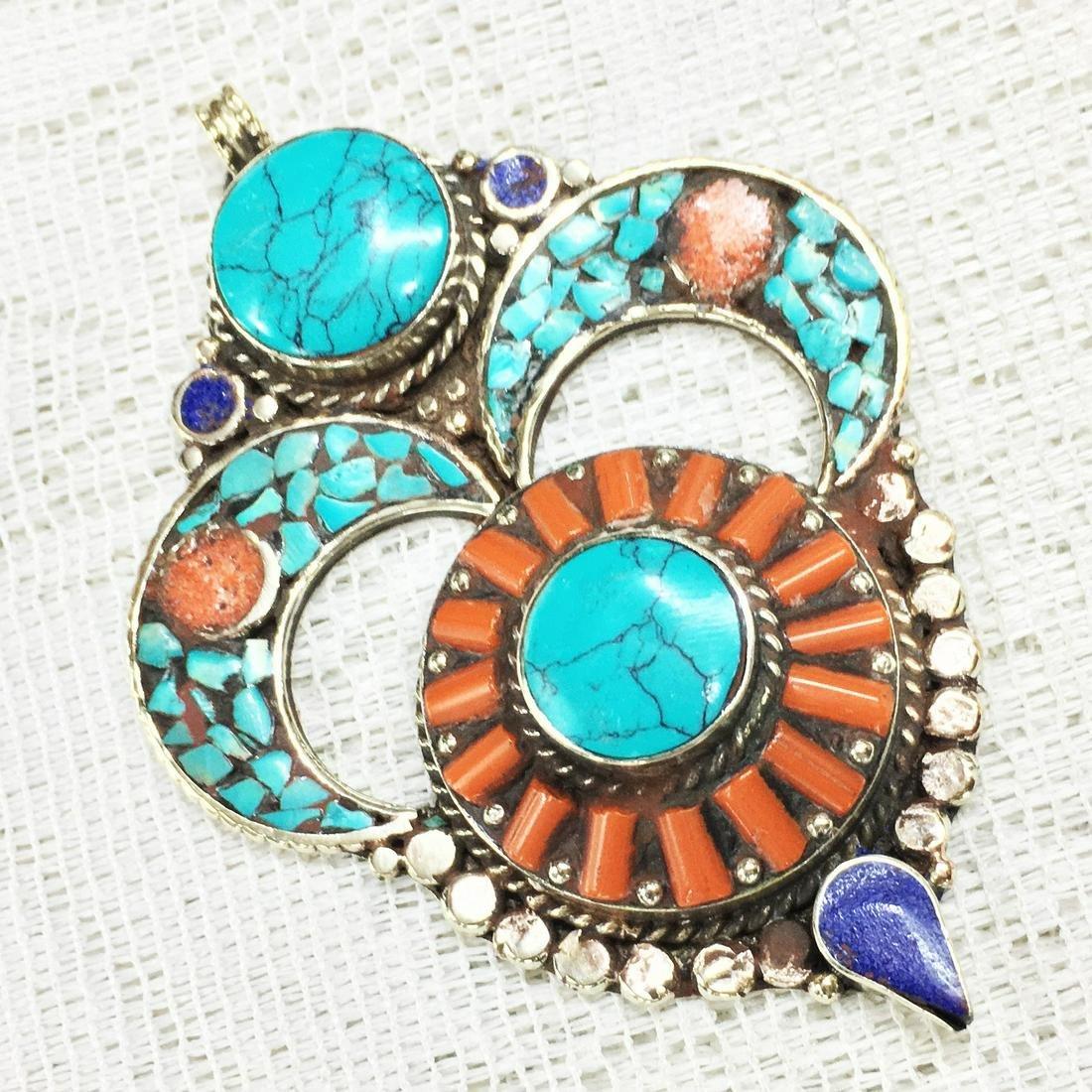 Tibetan Ethnic Tibetan Silver Turquoise & Amber Pendant