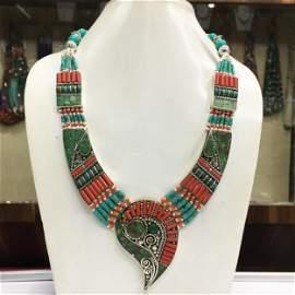 Tibetan Turquoise & Coral Designer Chokar Necklace