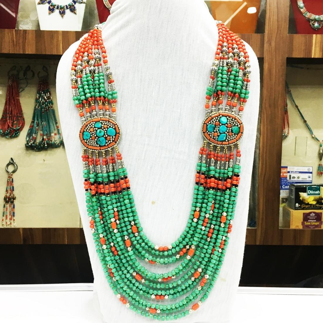 Antique Tibetan Turquoise & Coral Long Necklace