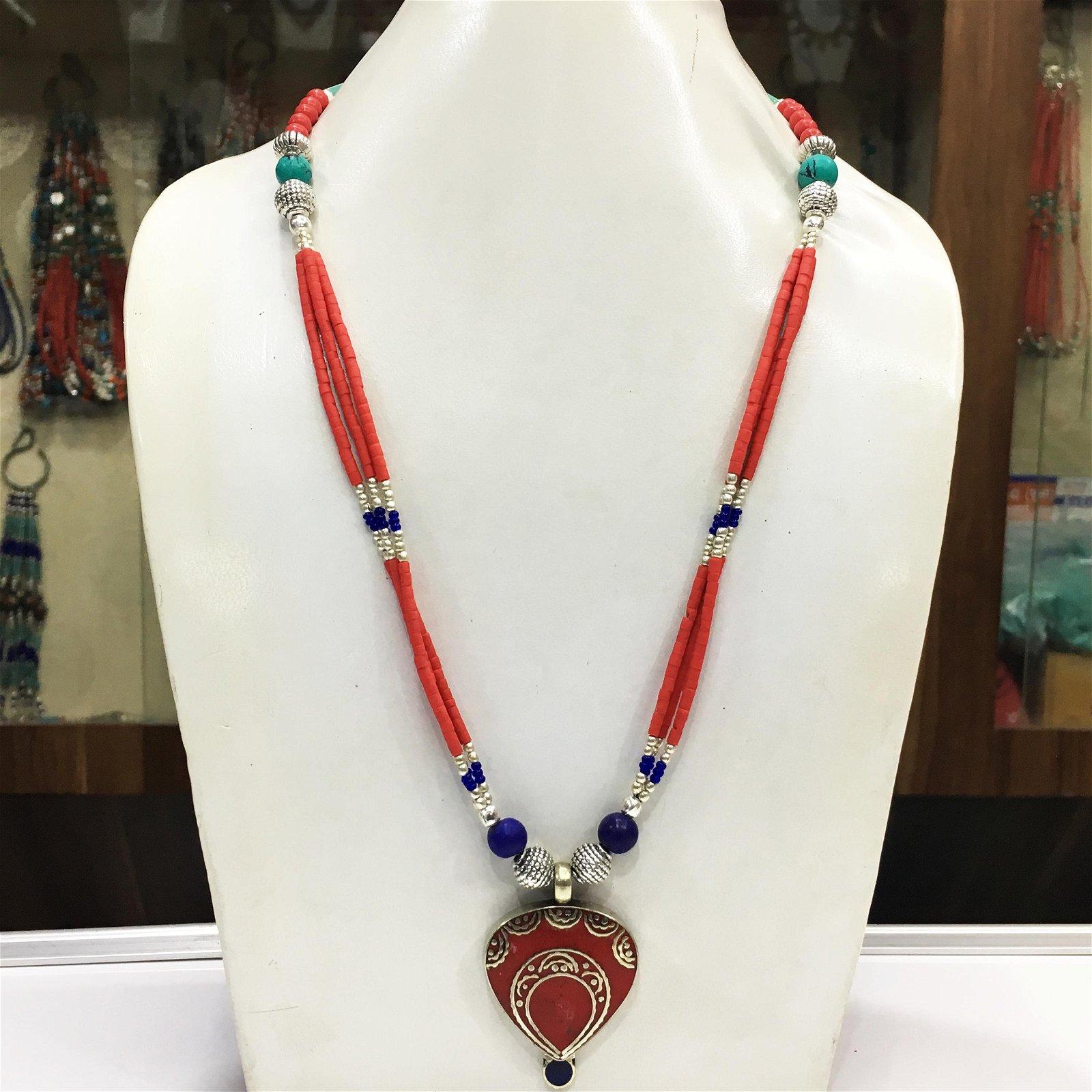Tibetan Natural Coral Handmade Pendant Necklace