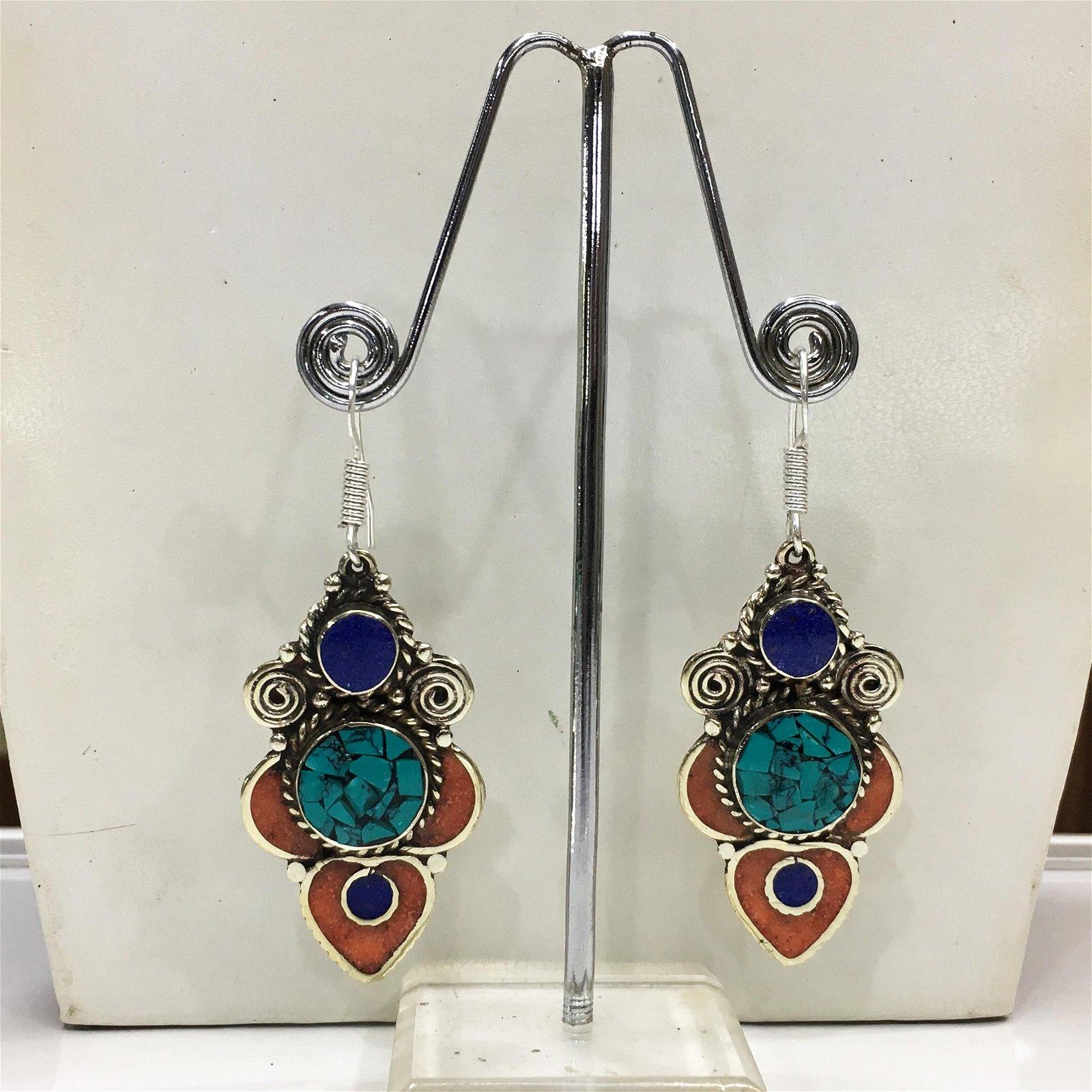 Tibetan Turquoise & Coral Handmade Boho Earrings