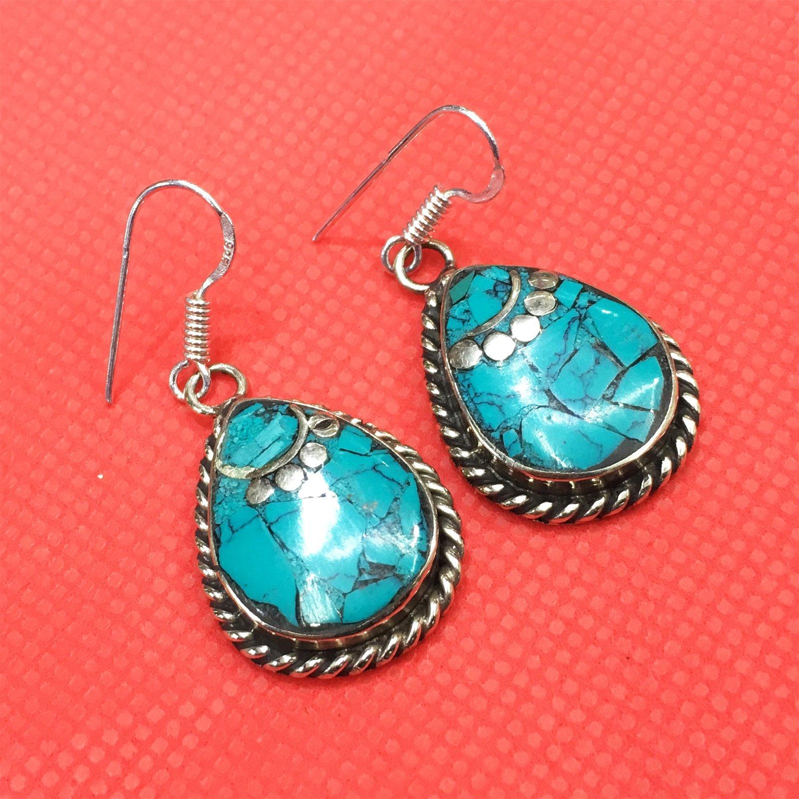 Tibetan Turquoise Handmade Ethnic Earrings
