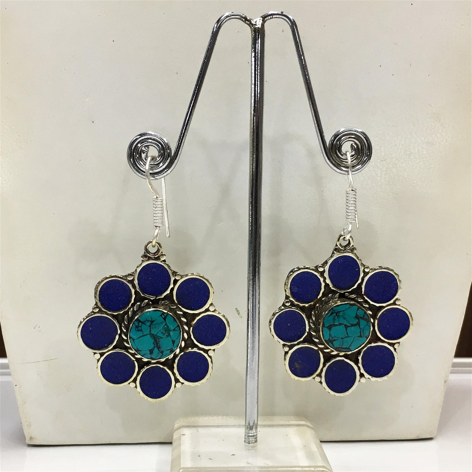 Tibetan Turquoise & Lapis Handmade Ethnic Earrings