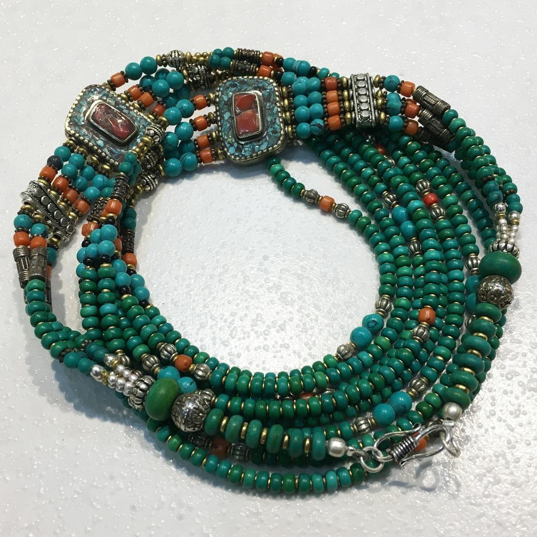 Tibetan Natural Turquoise Antique Handmade Necklace