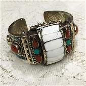 Tibetan Silver Shell Hand-Carved Bangle