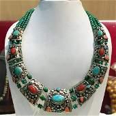 Tibetan Turquoise & Coral Handmade Chokar Old Necklace