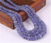 Natural Tanzanite 263.00 Crt Rondelle Beads Necklace
