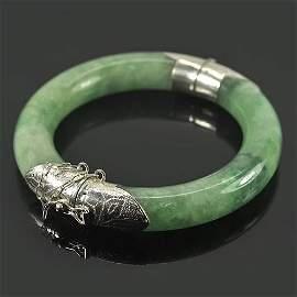412.89 Ct. Natural Green Jade Silver Bangle Size 80 Mm.
