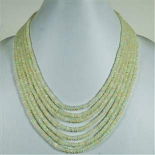 290 CT Natural Ethiopian Plane Beads 7 line Necklace
