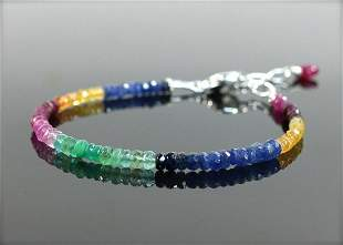 Natural Multi sapphire Bracelet with Sterling Silver