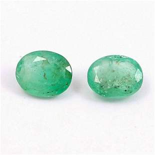 Natural Emerald Oval Cut 6x5 mm 2 Pieces 1.151 Cts