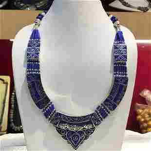 Tibetan Lapis Tibetan Silver Chokar Necklace