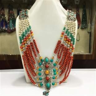 Tibetan Natural Coral Handmade Beaded Chokar Necklace