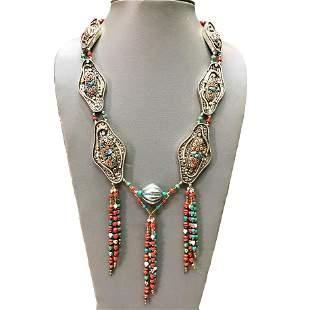Tibetan Natural Coral Handmade Beaded Long Necklace