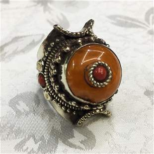 Tibetan Unique Amber Ethnic Handmade Ring - Free Size