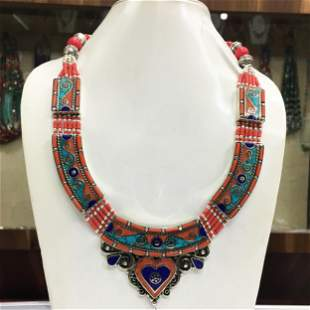 Turquoise & Coral Statement Ethnic Necklace