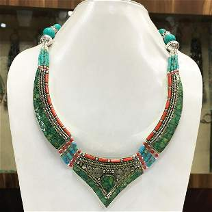 Turquoise Statement Ethnic Chokar Necklace