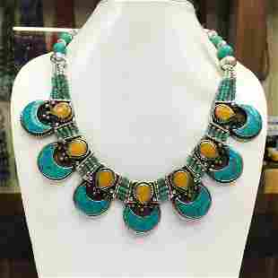 Turquoise & Amber Ethnic Chokar Necklace
