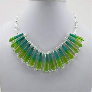 Dye Colour Multi Quartz Silver Plated Handmade Necklace
