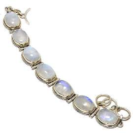 Natural Rainbow Moonstone Silver Bracelet