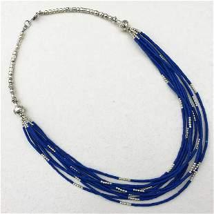 Tibetan Lapis Multi Strand Handmade Necklace