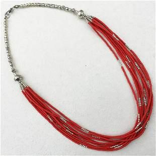 Tibetan Coral Multi Strand Handmade Necklace