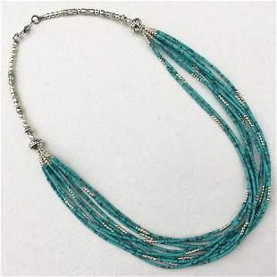 Tibetan Turquoise Multi Strand Handmade Necklace