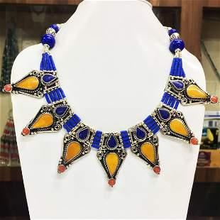 Tibetan Lapis & Amber  Handmade Chokar Necklace