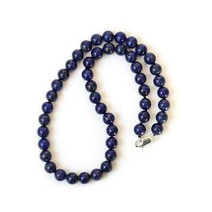 Afghan Natural Lapis lazuli beaded Silver Necklace