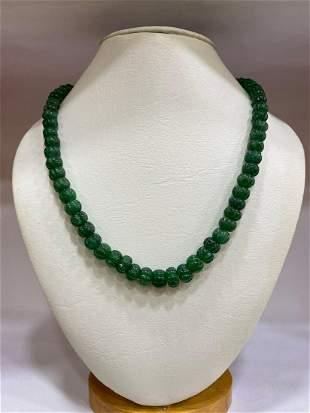 Beryl Emerald Melon Shape Beads Silver Necklace