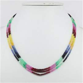 Natural Multi Sapphire 92.5 Sterling Silver Necklace