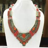 Women's Old Vintage Coral Tibetan Asian Necklace