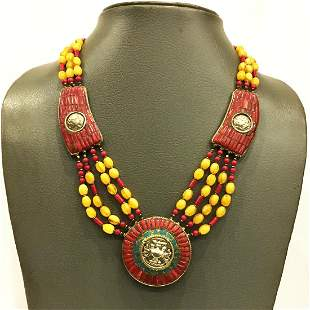 AMBER & CORAL TIBETAN BEADED ANPRRNNA NECKLACE