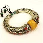 Old Amber & Antique Silver Hand-Carved Bangle