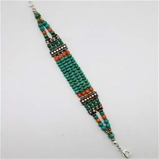 Tibetan Natural Old Turquoise Beaded Bracelet