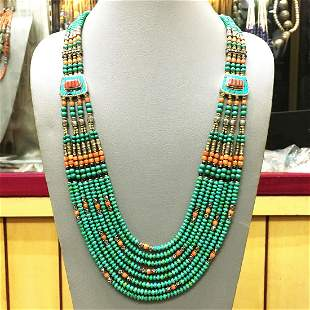 Vintage Natural Turquoise Beaded Necklace