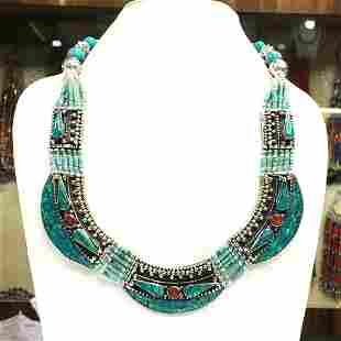Tibetan Turquoise Handmade Ethnic Beaded Necklace