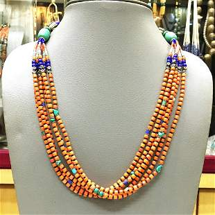 Vintage Natural Taiwani Coral Beaded Necklace