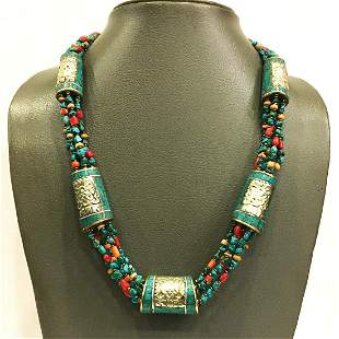 Natural Turquoise Vintage Beaded Ethnic Necklace