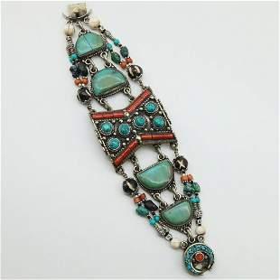 Tibetan Old Turquoise Handmade Beaded Bracelet